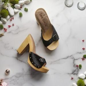 GEE WAWA calf hair wood platform sandal heel NEW